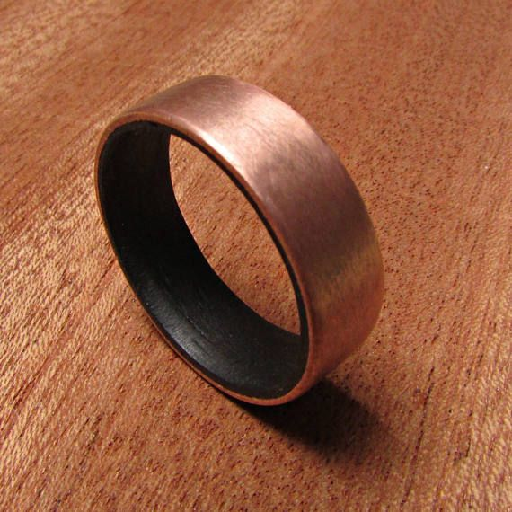Wood Inlay Ring, Copper Wedding Band, Copper and Wood Rings, 7 year Anniversary gift for him, Rustic Wedding Ideas, Men's Wedding Bands
