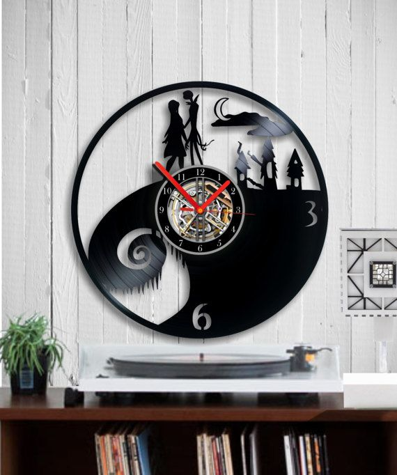 Nightmare Before Christmas Vinyl Clock  Tim Burton by Indigovento