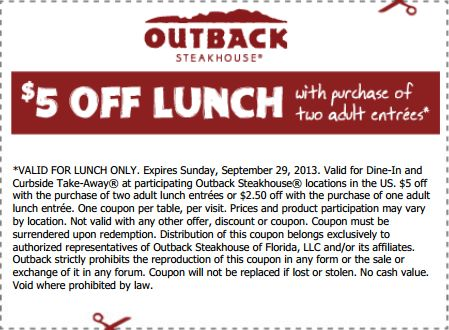 Outback coupons $8 off