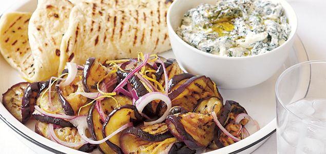 EGGPLANT SALAD WITH CUMIN FLATBREADS