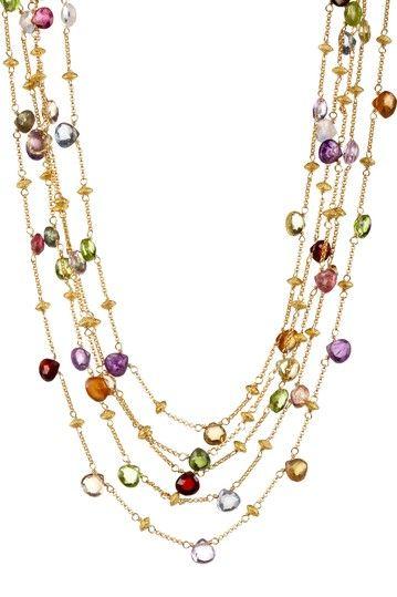 Multi-Stone Five Strand Necklace