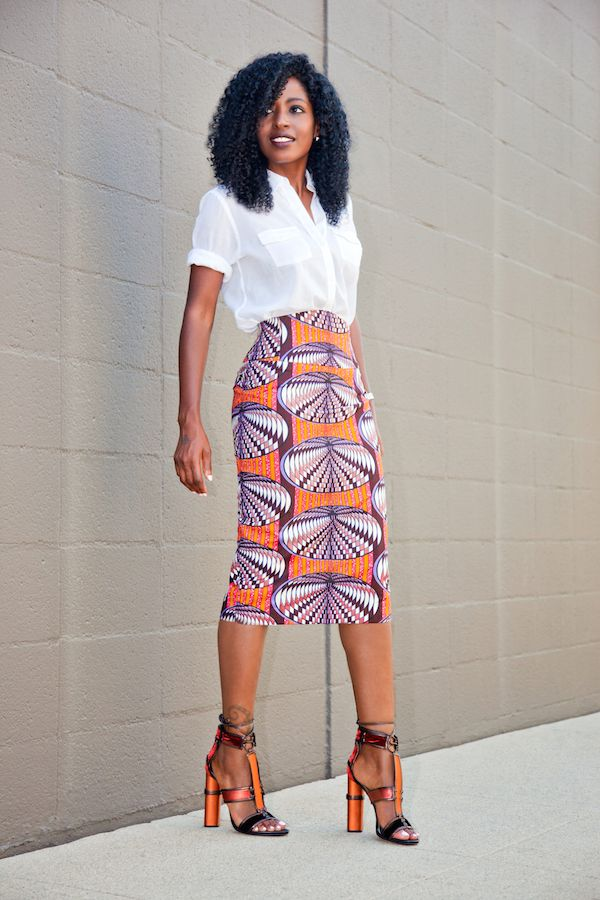 6658ee57ef7ca Safari Style Shirt + Printed Pencil Skirt (Style Pantry)