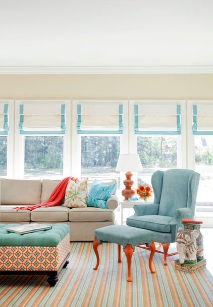 Aqua and coral for annie rom These unexpected color pairings create compelling displays in everything from powder rooms to great rooms
