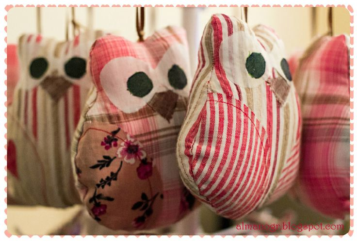 Fabric owls scented wild rose