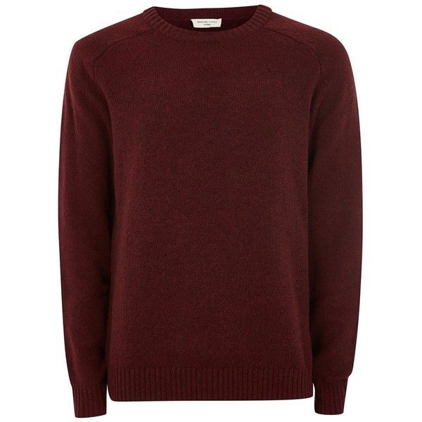 TOPMAN Selected Homme Red Coban 100% Wool Jumper ($72) ❤ liked on Polyvore featuring men's fashion, men's clothing, men's sweaters, red, mens red sweater, mens crew sweater, mens crew neck sweaters, mens wool sweaters and mens long sleeve polo sweater