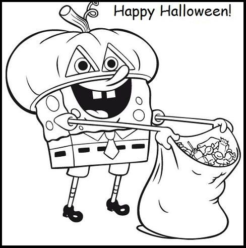 Picture Spongebob Halloween Coloring For Kids