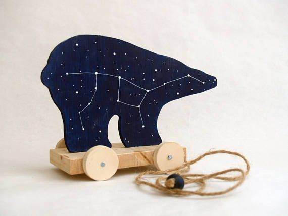 Great Bear / Ursa Major is one of the most popular constellations in universe. We made it a pull-toy (or a bear totem) specially for you.  An antique greek legend says that Zeus, Olympus god, fell in love with a nymph named Calisto. Zeus wife, Hera, was extremely jealous and turned her rival into a bear.  One morning Calisto was hurt by a hunters arrow, who turned out to be her own son, Arkas. Zeus turned Arkas also into a bear and put them both in a privileged spot of the sky to keep th...