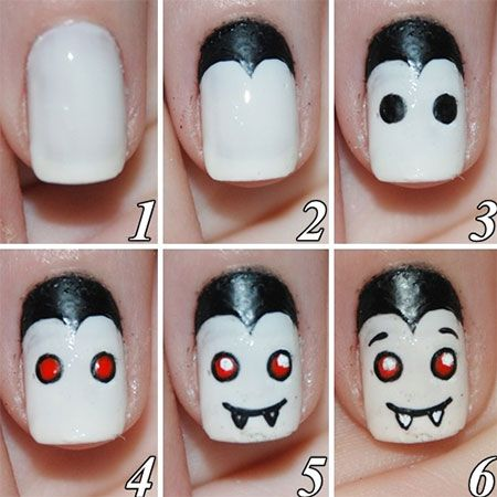 12 + Easy Step By Step Halloween Nail Art Tutorials For Beginners ...