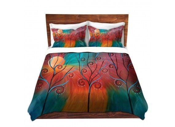 Tara Viswanathan's 'Peacock Inspiration II' | Designer Artistic Unique Duvet Covers and Shams