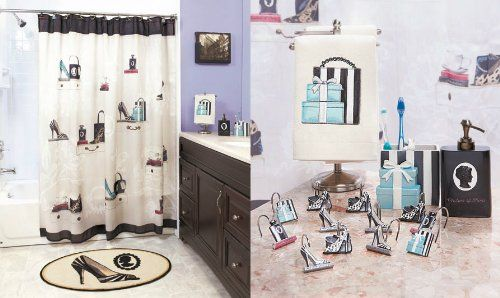 Fashionista Glam Old Hollywood Paris Couture Shoes Purse Fashion Bath Ensemble Shower Curtains
