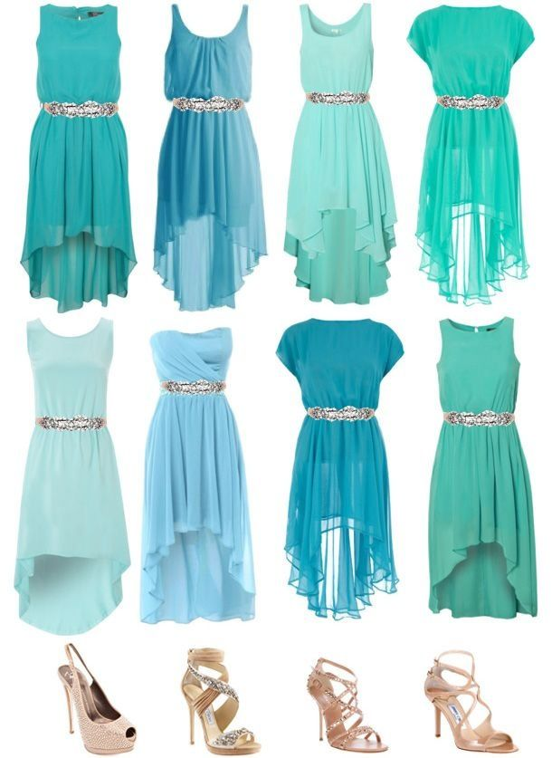 Different colors of blue, short bridesmaids dresses with shoes