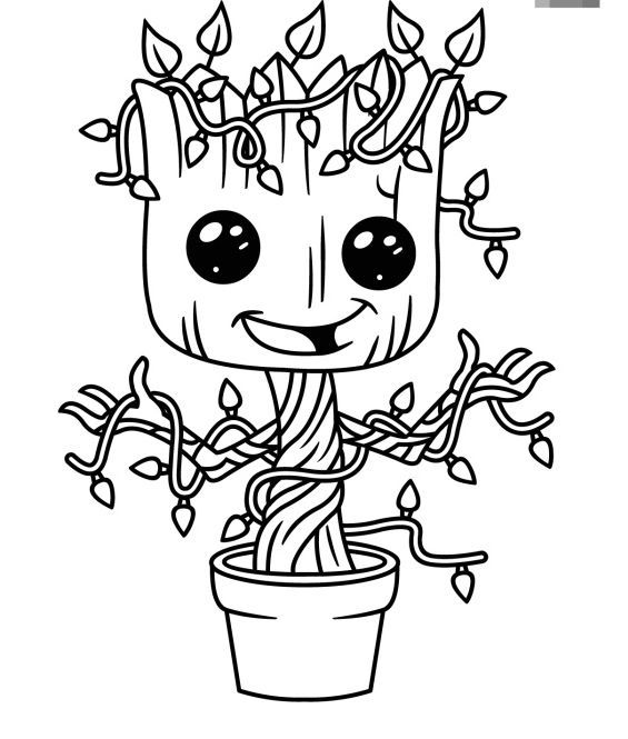 Baby Groot Coloring Page Free Mermaid Coloring Pages Marvel