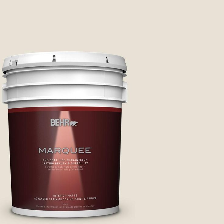 BEHR MARQUEE 5 gal. #MQ3-13 Crisp Linen One-Coat Hide Matte Interior Paint-145005 - The Home Depot