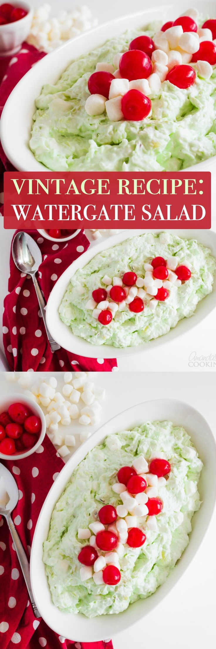 Watergate salad was something I ate at family gatherings when I was a child. It's that fluffy green pistachio flavored dessert brimming with marshmallows!