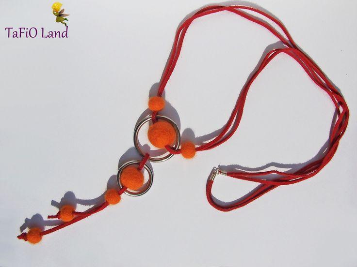 Y-Kette orange rot Filz von TaFiO Land auf DaWanda.com