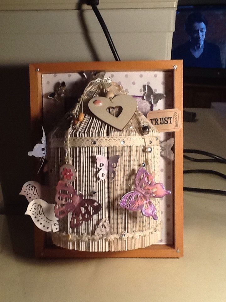 Homemade Folded book Art .Bird Cage With Butterflies And ...