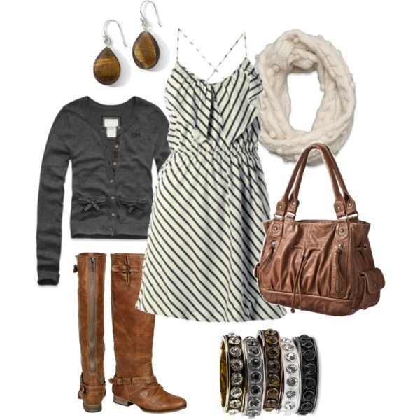 .: Summer Dresses, Dreams Closet, Dresses Boots, Cute Dresses, Casual Fall, Fall Outfits, Schools Outfits, Brown Boots, The Dresses