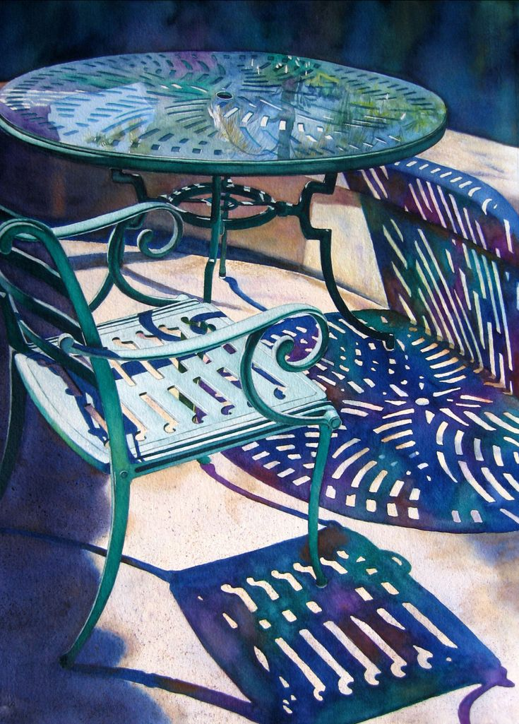 """Contemporary Painting - """"Table for One"""" (Original Art from Judy Nunno).  Watercolor"""