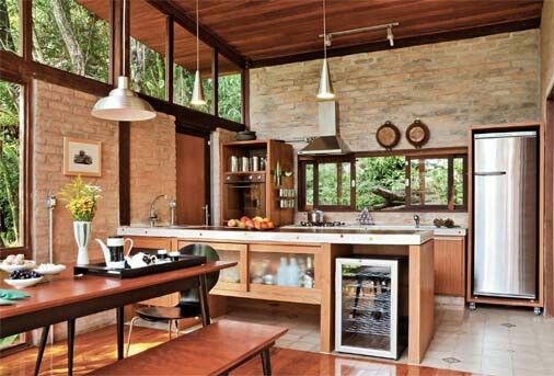 Área lazer. Great room kitchen and dining. Modern and midcentury