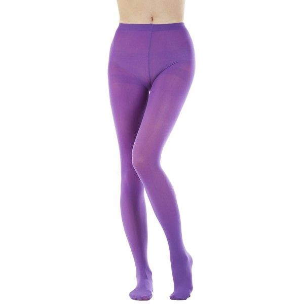 Women's 80 Denier Semi Opaque Solid Color Footed Pantyhose Tights... ($13) ❤ liked on Polyvore featuring intimates, hosiery, tights, opaque tights, opaque hosiery, purple tights, sheer tights and purple stockings