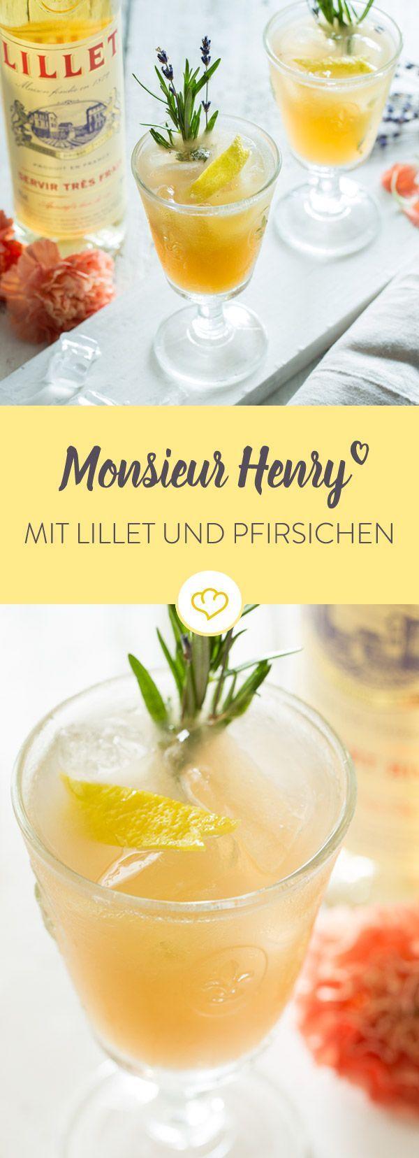 Hol dir Frankreich auf deinen Balkon und mixe dir einen leckeren Aperitif für heiße Sommerabende. Monsieur Henry kommt mit Lillet und Weinbergpfirsichen.