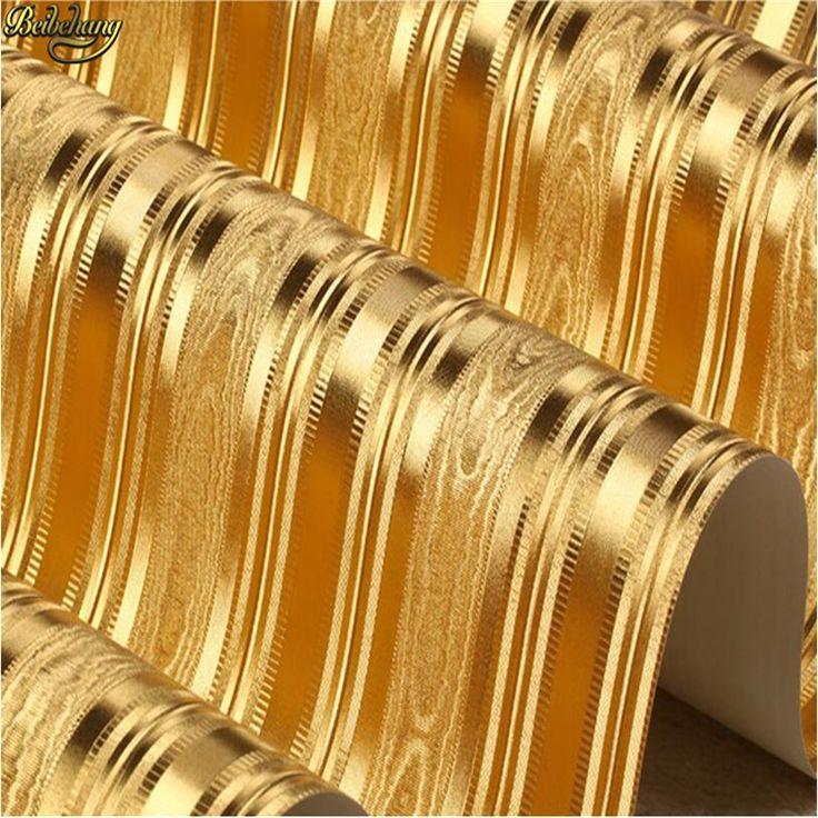 beibehang 3D embossed gold foil wallpaper scroll room bedroom wallpaper red brown wallpaper modern luxury gold striped wallpaper