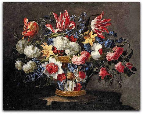 Juan de Arellano (1614-1676)  Narcisos, tulipas, rosas e outras flores em uma cesta de vime 1676  http://sergiozeiger.tumblr.com/…/narciso-narcissus-cyclamin…