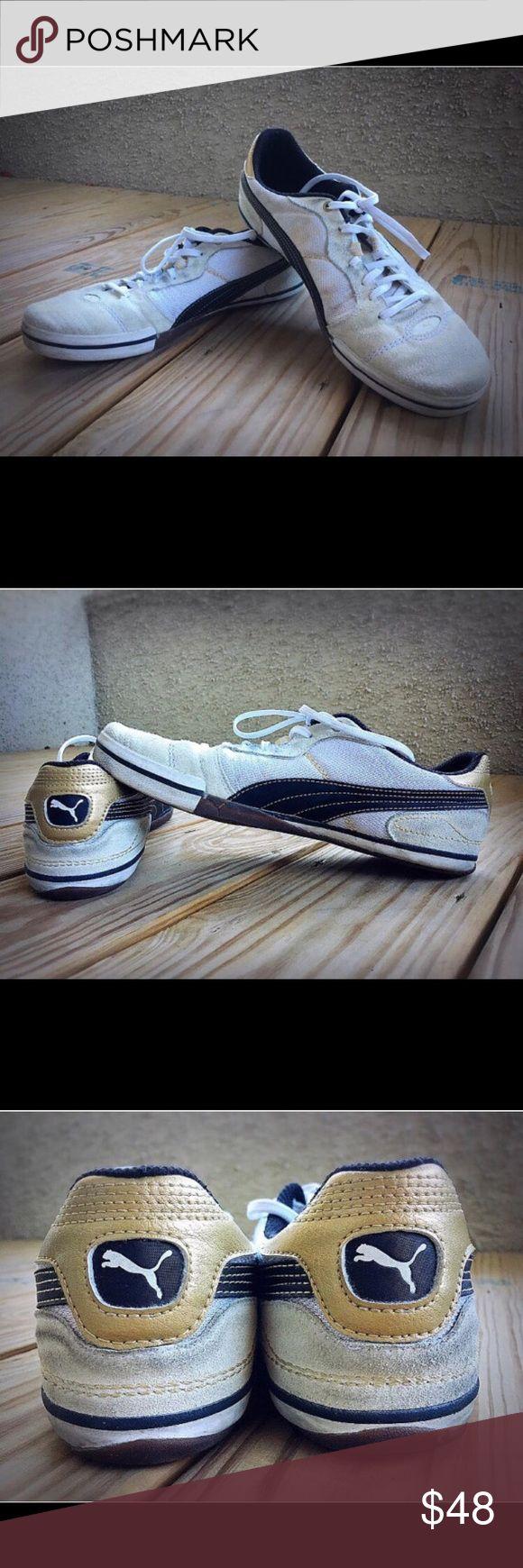 PUMA Original Retro Men Shoe Sport Lifestyle Suede PUMA White Gold  Original Retro Style  Men's Casual Shoes Sport Lifestyle Suede Leather & Man Made Materials In Excellent Condition US 9.5 UK 42.5 Width Medium (D, M) Made in Indonesia Puma Shoes Sneakers