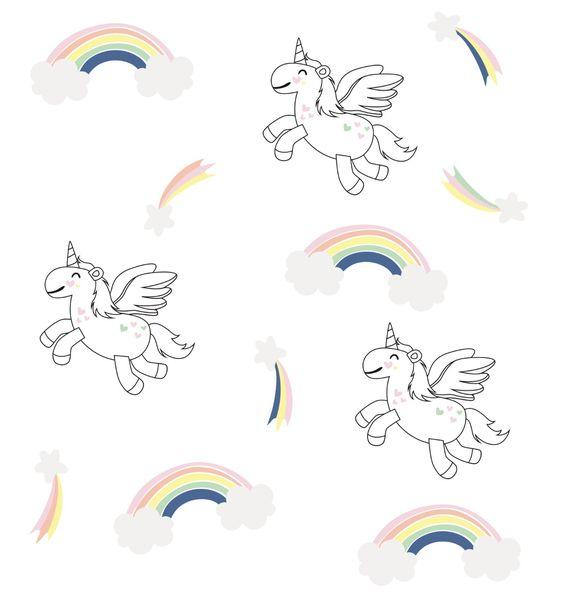 Pastel Rainbow and unicorn set -