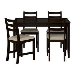 LERHAMN Table and 4 chairs, black-brown, Vittaryd beige - IKEA