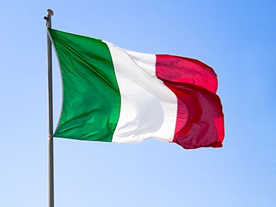 Italy Flag - All about Italy Flag - colors, meaning, information & history/The flag of Italy (bandiera d'Italia) is a tricolor flag - three equal vertical bands of green (hoist side), white, and red. The design was inspired by the French flag brought to Italy by Napoleon in 1797.wikepedia//