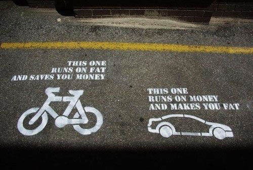 A bike runs on fat and saves you money. A car runs on money and makes you fat. - Buy yourself a bicycle in Cape Town