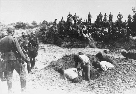 Holocaust Picture: Jewish Men Being Forced to Dig Their Own Graves Before Being Executed
