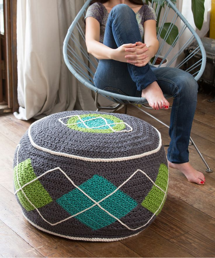 Argyle Bean Bag Ottoman -Red Heart - Free Crochet Pattern