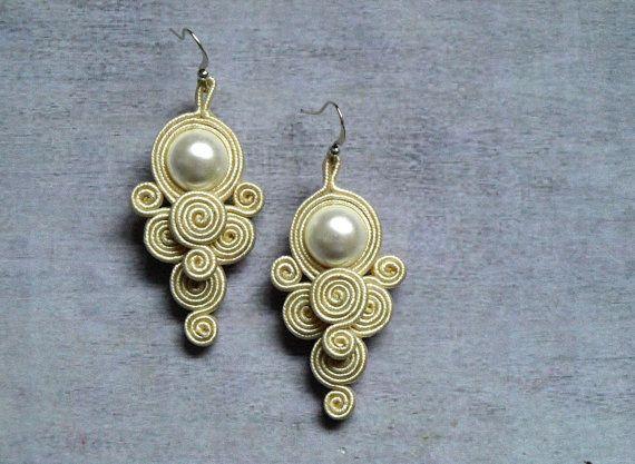 Winter soutache earrings white cream pearl by ShoShanaArt on Etsy, $22.00