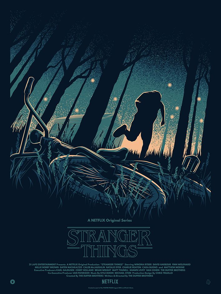 "Unofficial poster tribute to the Netflix Original show ""Stranger Things"" (2016).Produced as part of the Poster Posse's tribute to ""Stranger Things"" (2016)."