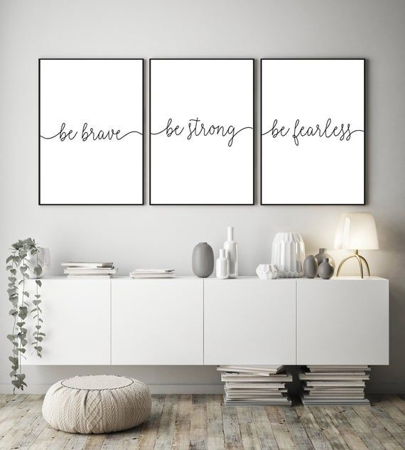 Set of 3 Prints, Be Strong Be Brave Be Fearless, Many Sizes, Handwriting Quote Printable Wall Art, Calligraphy Print, Typography Printable
