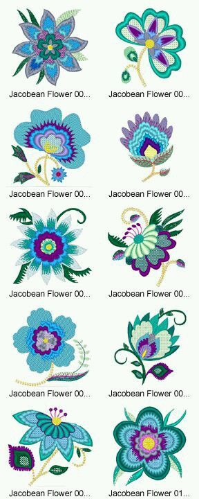 The Jacobean style of floral embroidery. I love it.