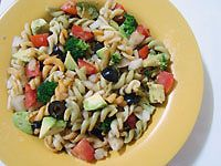 An easy vegetarian pasta salad recipe is perfect for a summer picnic or a vegan potluck. Click here for larger image.