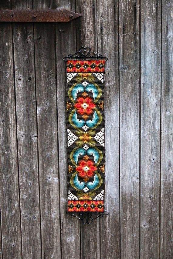 26x6 Swedish tapestry vintage handmade// Swedish Folk Art Wool Embroidered//  Scandinavian Embroidery Wall Hanging