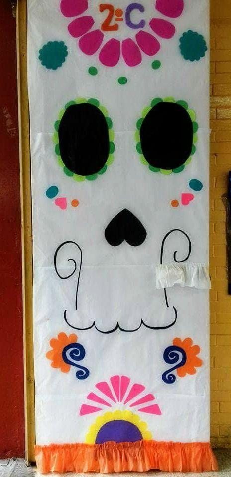 Puerta decorada del mes de noviembre puertas decoradas for Decoracion de puertas de dia de muertos