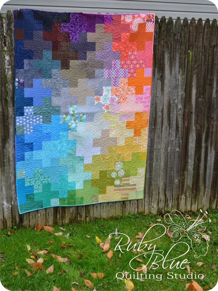 Scrappy Plus Quilt, free pattern with printable pdf instructions by Rebecca Silbaugh of Ruby Blue Quilting Studio