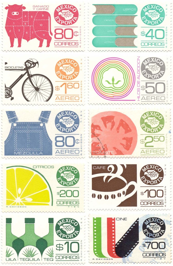 Vintage Mexico Stamps- retro goodness