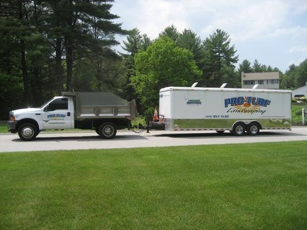 Pictures of trucks with decals and logos for Landscaping companies