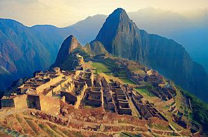 Peru Painting - Machu Picchu Late Afternoon Sunset by Elaine Plesser