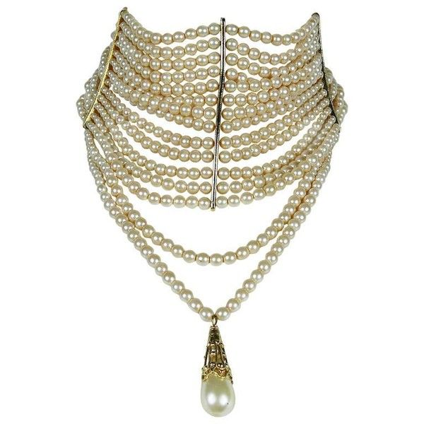 Preowned Christian Dior Iconic Multi Strand Edwardian Inspired Pearl... ($1,611) ❤ liked on Polyvore featuring jewelry, necklaces, choker, accessories, pearls, multiple, pearl strand necklace, multi-chain necklace, white pearl necklace and multiple strand pearl necklace