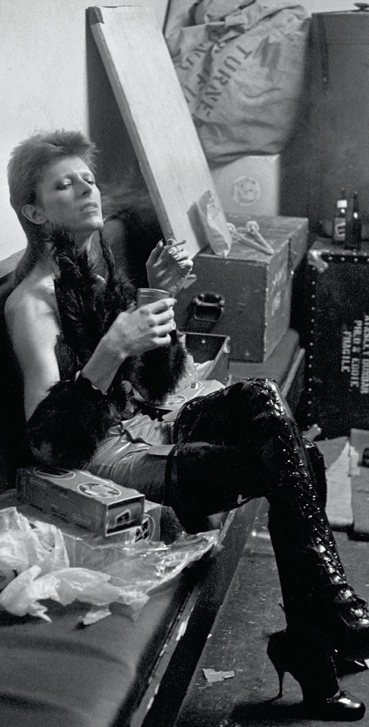 All day, everyday. David Bowie backstage at the Marquee Club, London, for his 1980 Floor Show special in 1973.