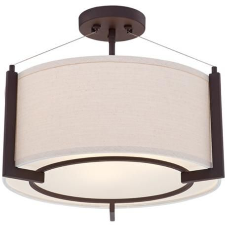 """Stinson 16 1/4"""" Wide Linen and Bronze Ceiling Light -"""