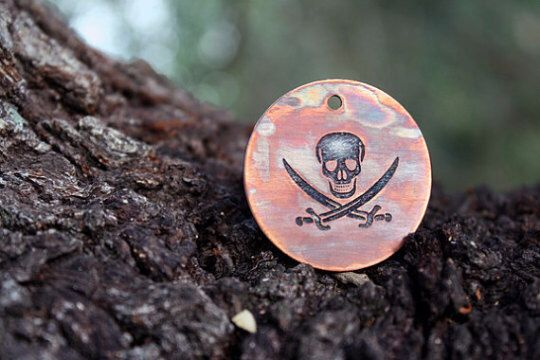Pirate - Skull - Pet Tags - Pet ID Tag - Dog Tag - Skull and Crossbones - Custom Dog Tag - Personalized Dog Tag - Cat Tag - Jolly Roger by TheCopperBone on Etsy https://www.etsy.com/listing/241326939/pirate-skull-pet-tags-pet-id-tag-dog-tag
