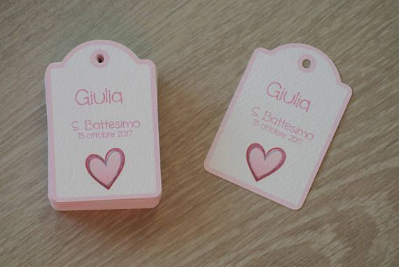 Tag Bomboniera Battesimo Nascita Cuore Rosa Etsy Place Card Holders Place Cards Cards